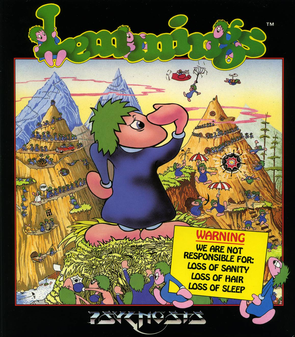 The green hair and blue-shod Lemmings splat all over the cover of this classic game