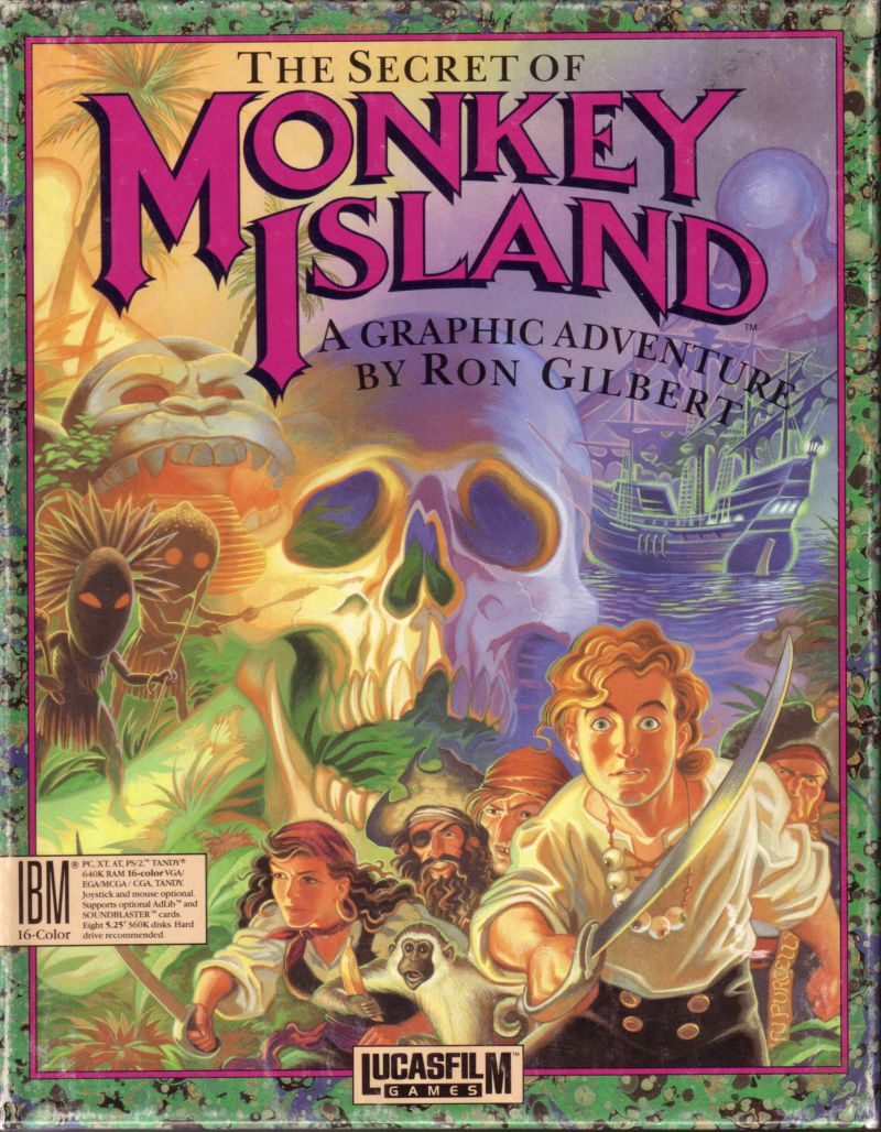 The almost cinematic boxart for The Secret of Monkey Island