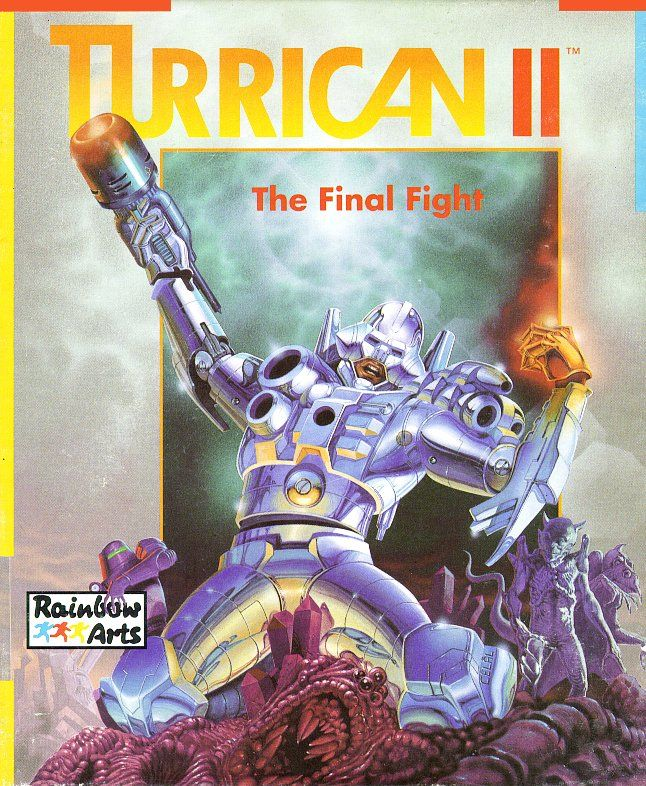 The Turrican fighting suit battling aliens on the cover of Turrican II
