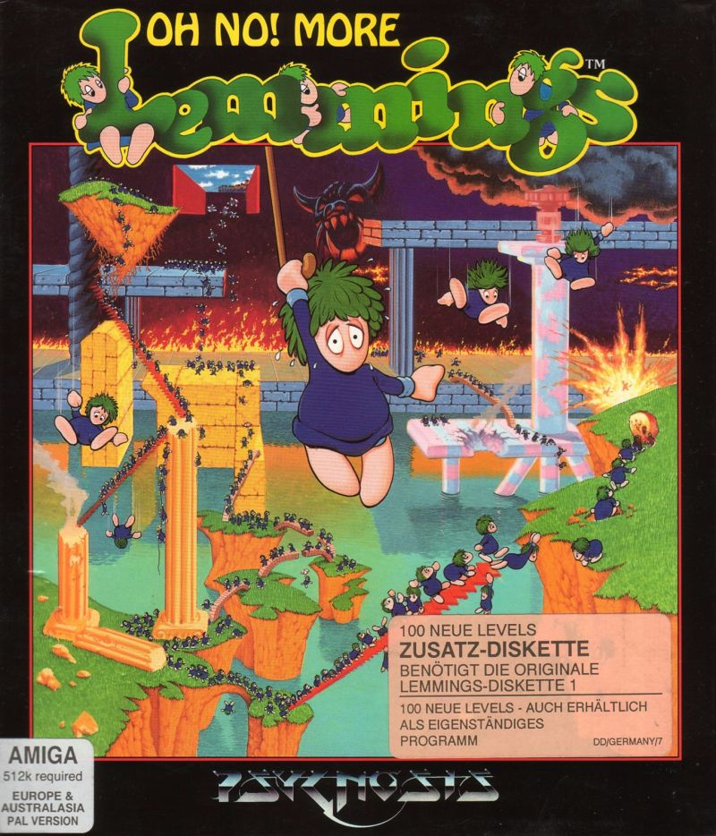 The beautiful cover of the Lemmings expansion pack, Oh No! More Lemmings